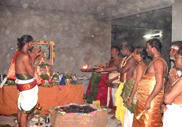 Sre Bhaaskharamaharishi doing the Special Archana to kalasams