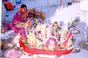 Mrs Revathi Guruji did the Holy Pooja to 108 Holy Pots